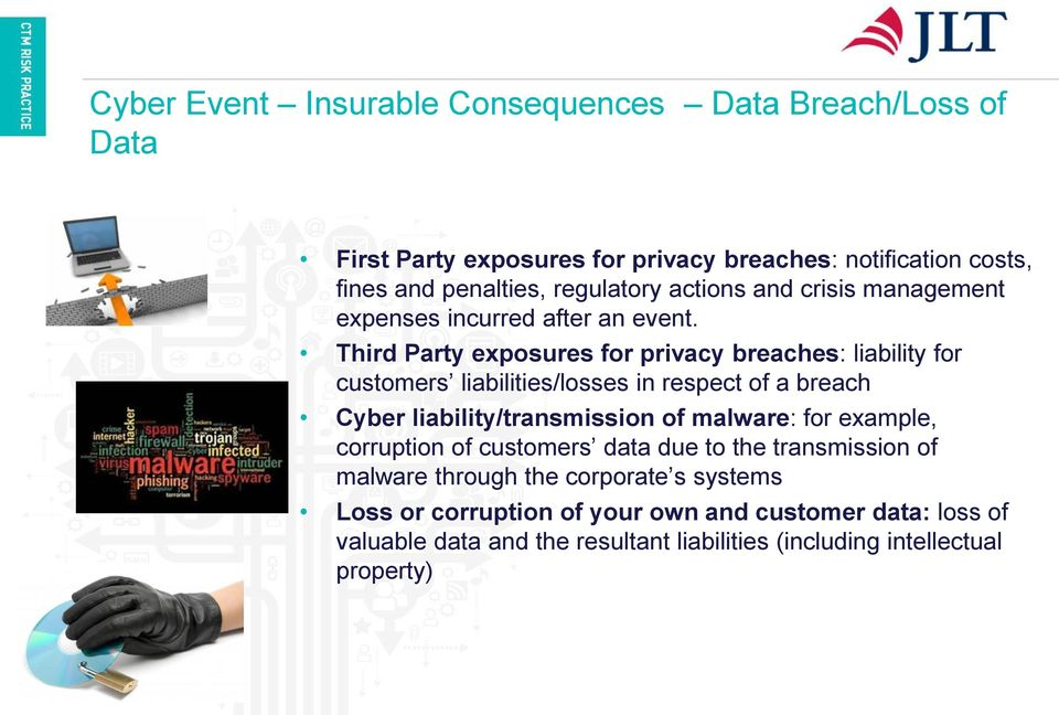 Third Party exposures for privacy breaches: liability for customers liabilities/losses in respect of a breach Cyber liability/transmission of malware: