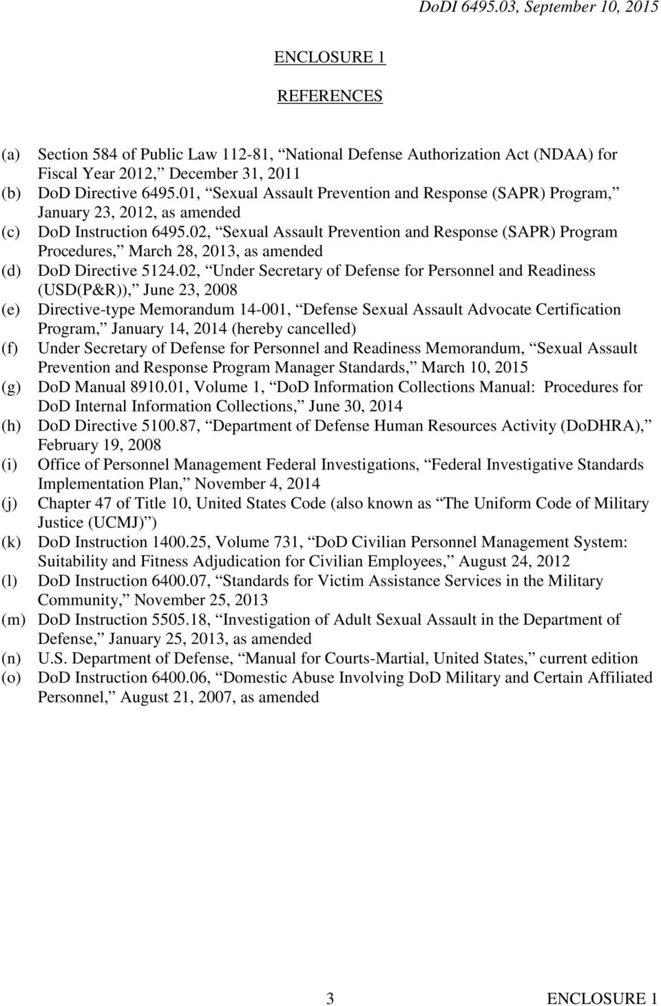 02, Sexual Assault Prevention and Response (SAPR) Program Procedures, March 28, 2013, as amended (d) DoD Directive 5124.