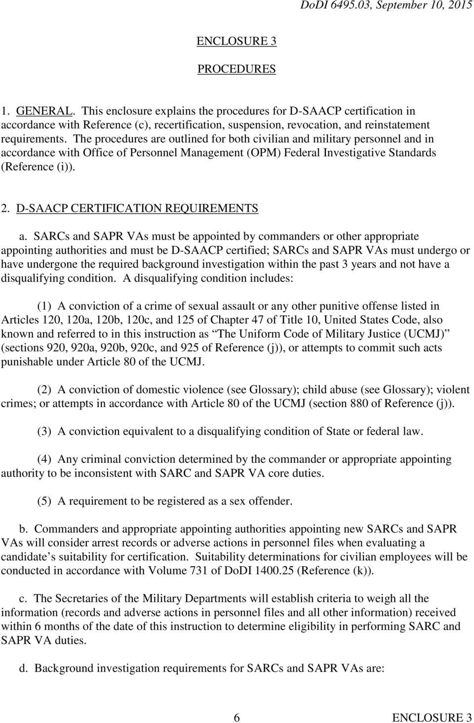 D-SAACP CERTIFICATION REQUIREMENTS a.