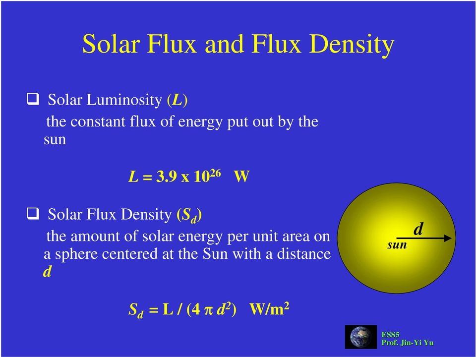 9 x 10 26 W Solar Flux Density (S d ) the amount of solar energy