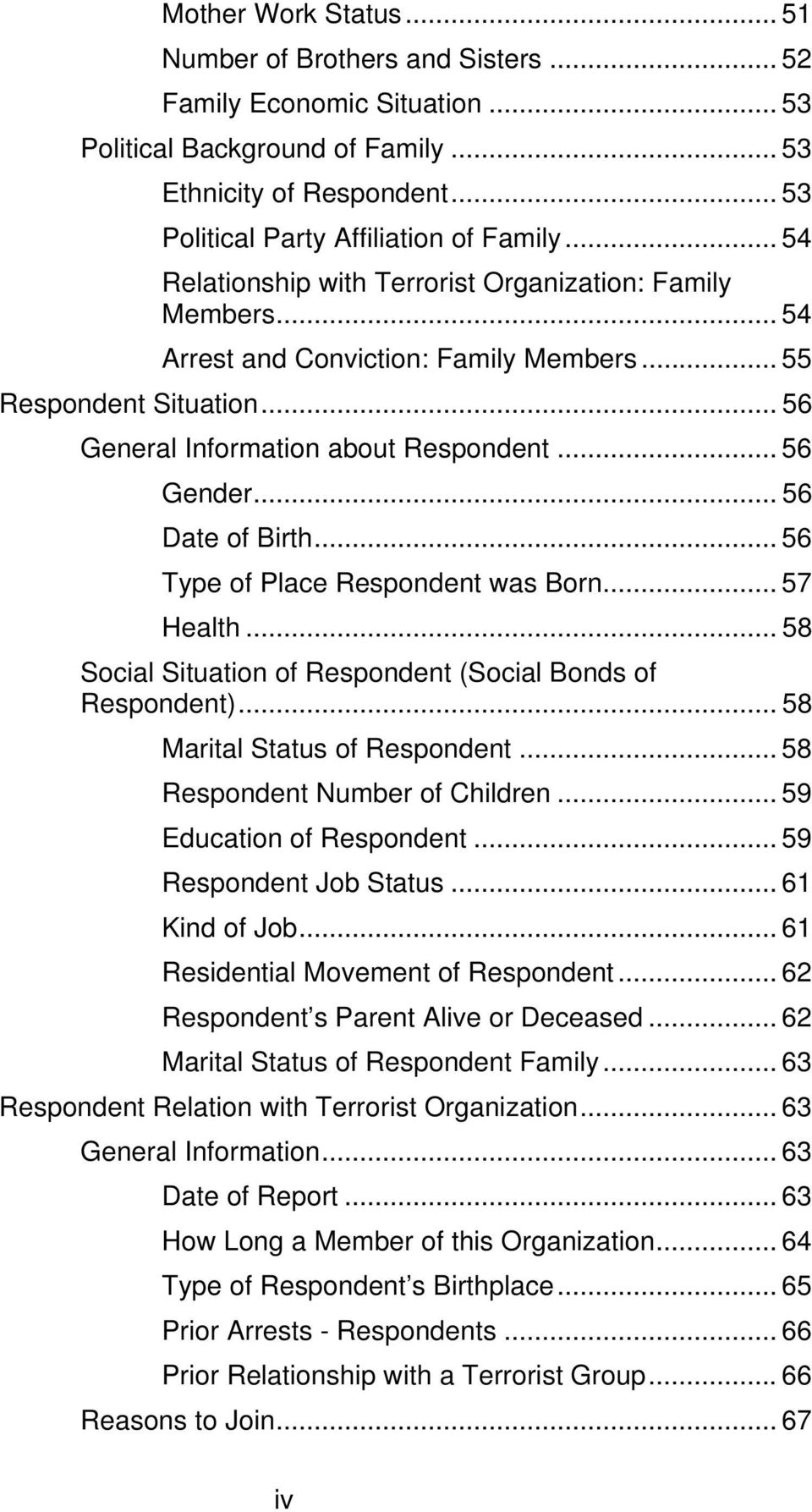 .. 56 Date of Birth... 56 Type of Place Respondent was Born... 57 Health... 58 Social Situation of Respondent (Social Bonds of Respondent)... 58 Marital Status of Respondent.
