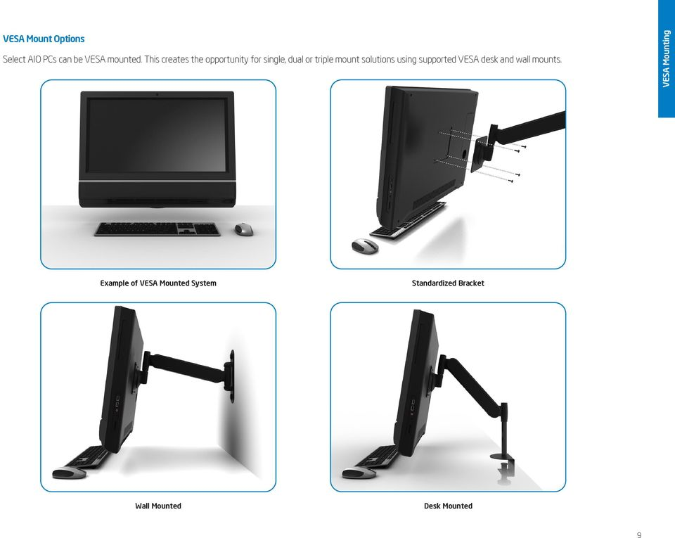 solutions using supported VESA desk and wall mounts.