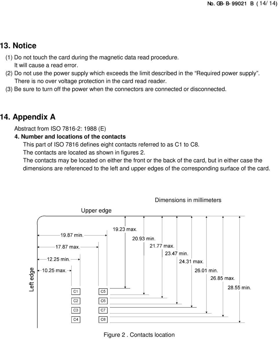 (3) Be sure to turn off the power when the connectors are connected or disconnected. 14. Appendix A Abstract from ISO 7816-2: 1988 (E) 4.