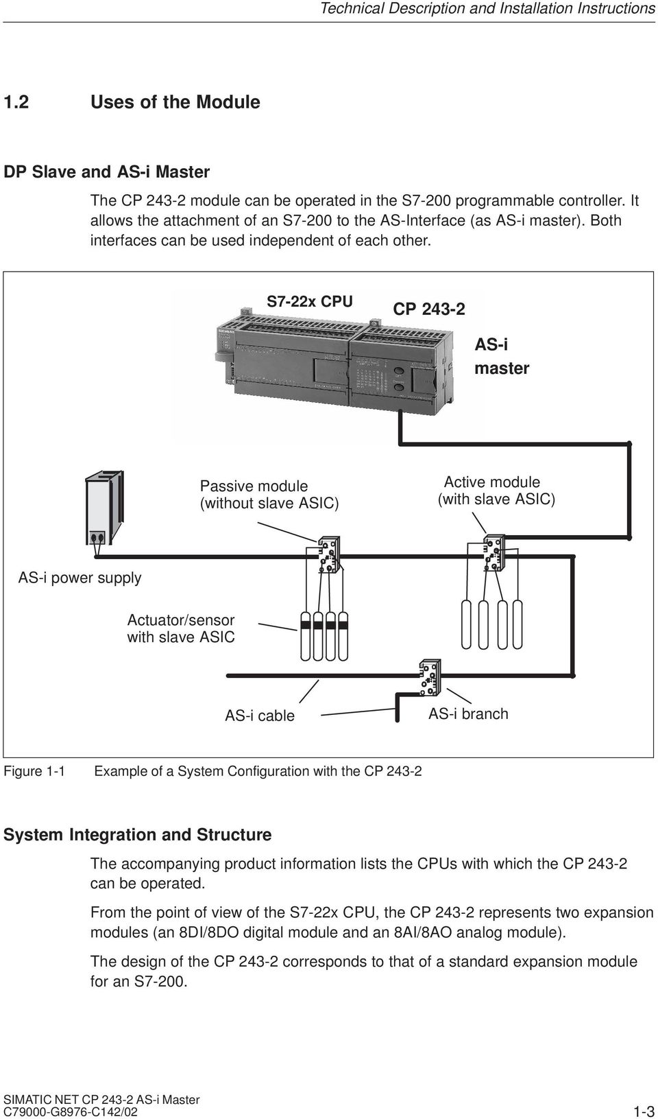 S7-22x CPU CP 243-2 AS-i master Passive module (without ASIC) Active module (with ASIC) AS-i power supply Actuator/sensor with ASIC AS-i cable AS-i branch Figure 1-1 Example of a System Configuration
