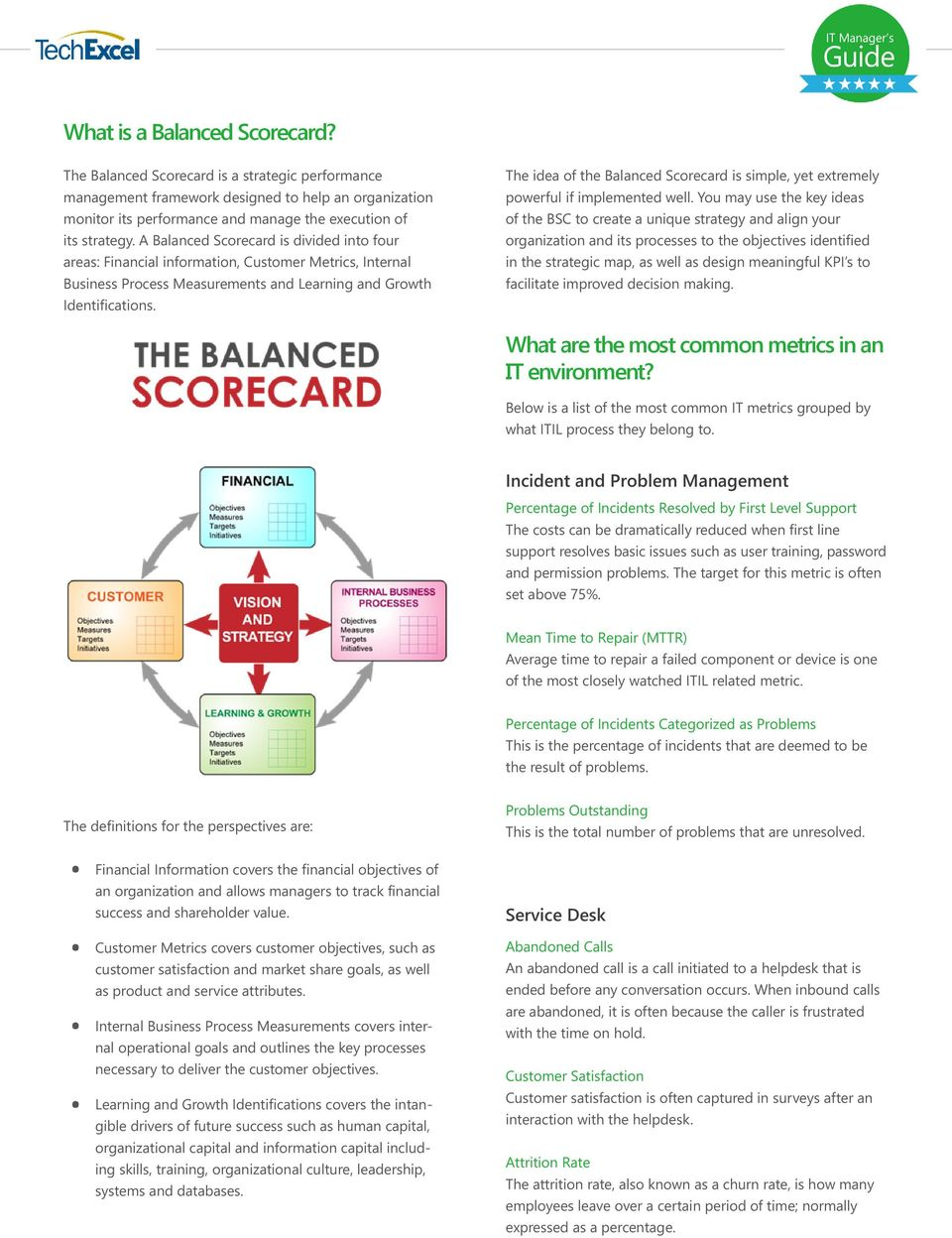 The idea of the Balanced Scorecard is simple, yet extremely powerful if implemented well.