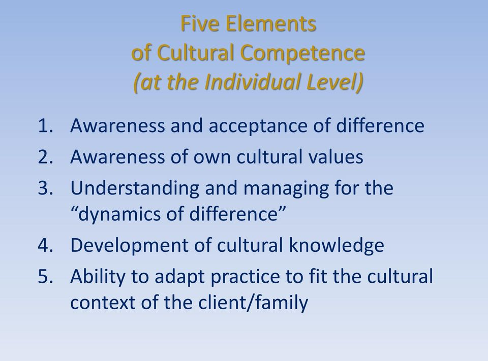 Understanding and managing for the dynamics of difference 4.
