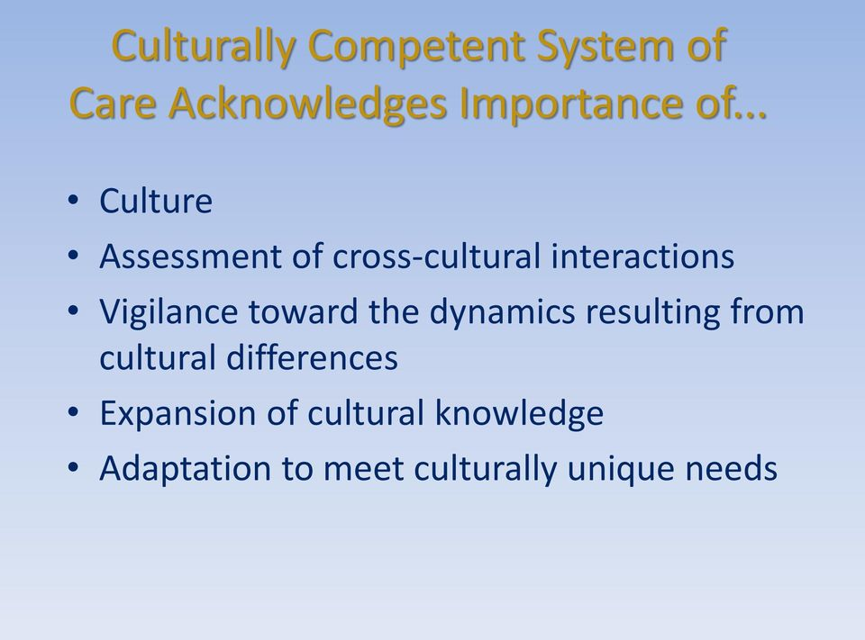 toward the dynamics resulting from cultural differences