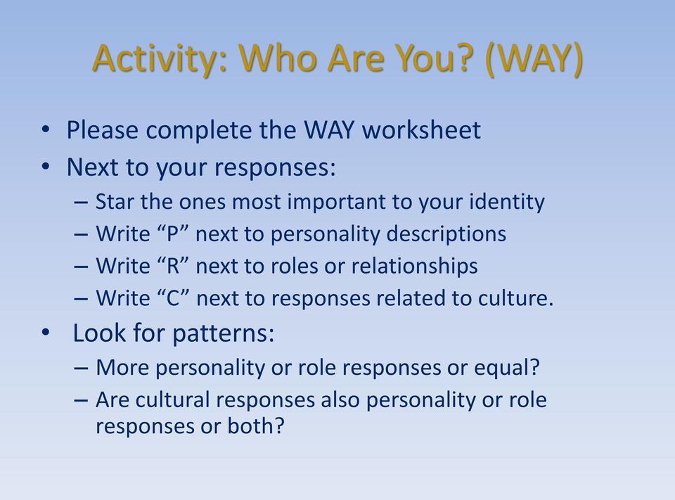 your identity Write P next to personality descriptions Write R next to roles or relationships