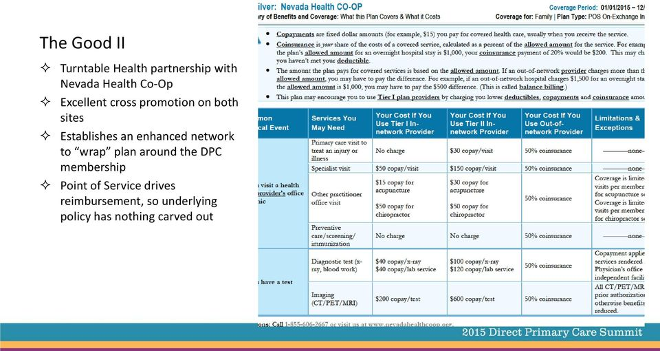 enhanced network to wrap plan around the DPC membership Point of