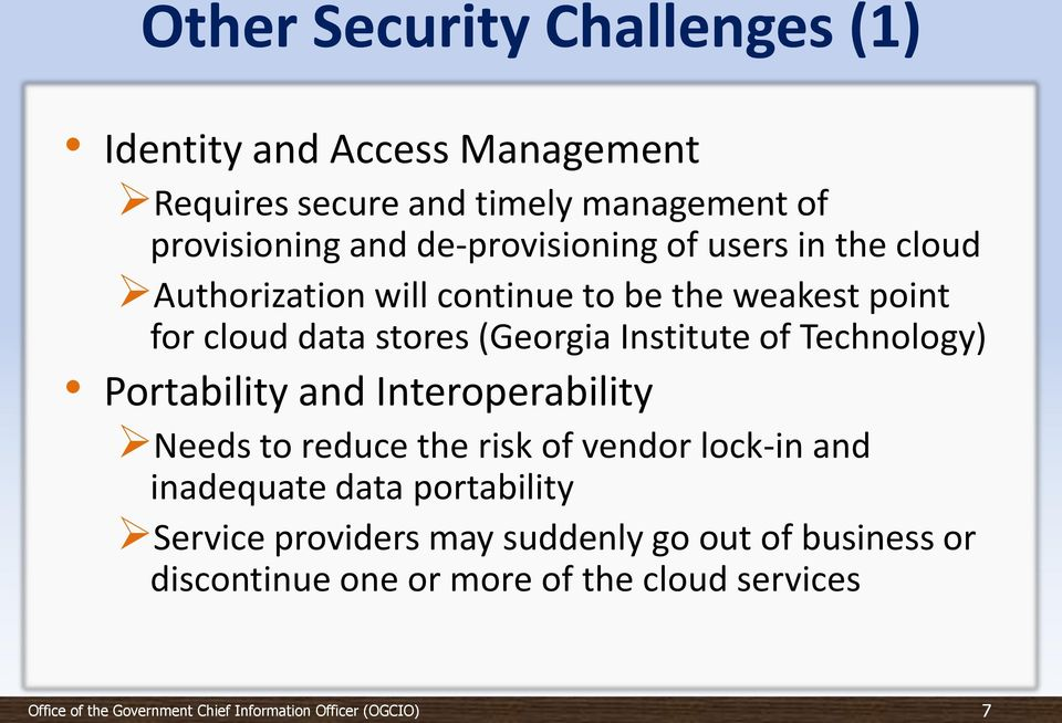 (Georgia Institute of Technology) Portability and Interoperability Needs to reduce the risk of vendor lock-in and