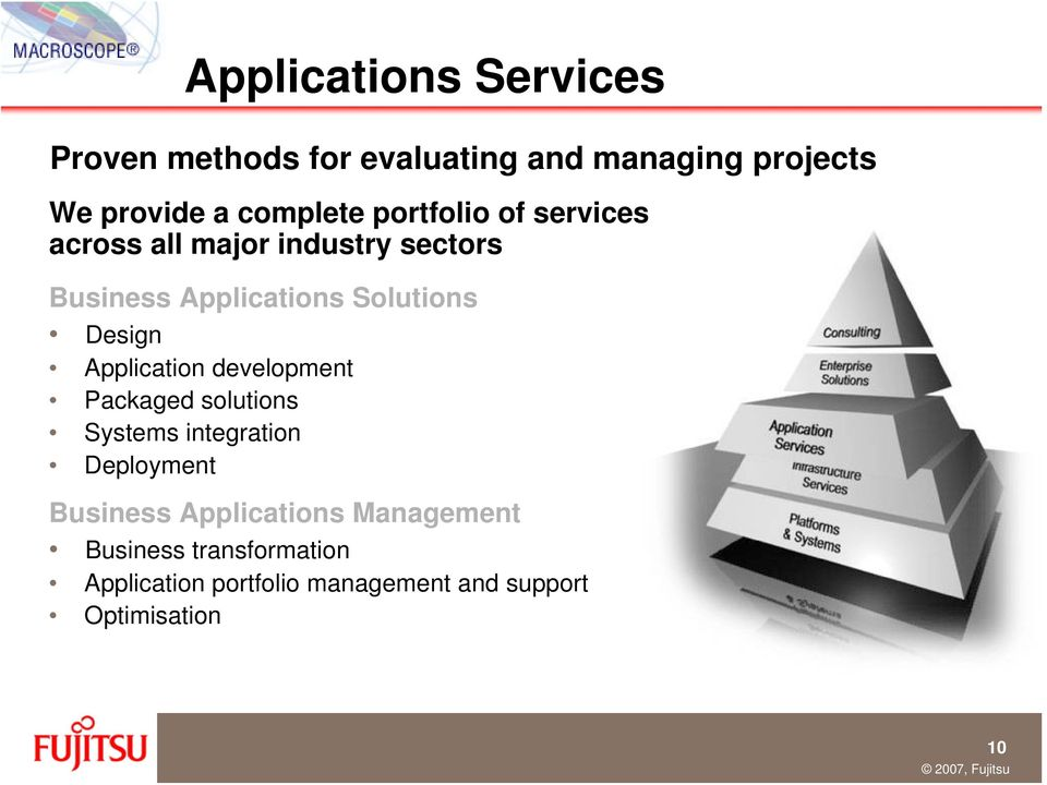 Application development Packaged solutions Systems integration Deployment Business Applications