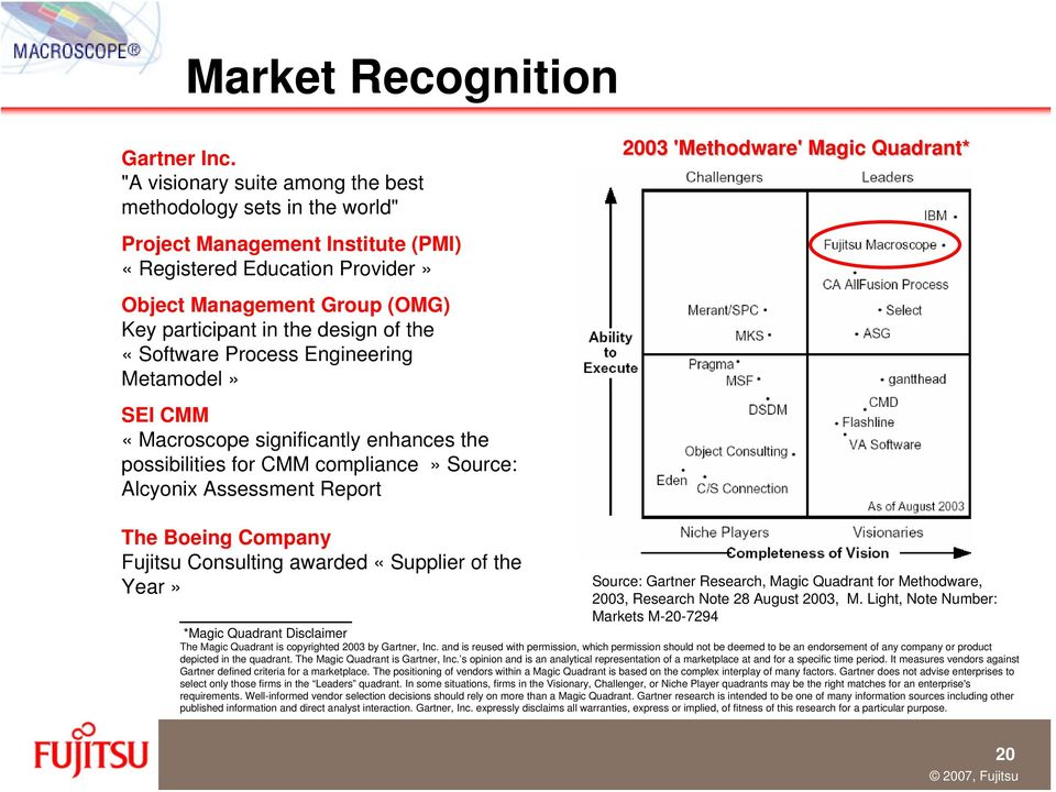 «Software Process Engineering Metamodel» SEI CMM «Macroscope significantly enhances the possibilities for CMM compliance» Source: Alcyonix Assessment Report 2003 'Methodware' Magic Quadrant* The