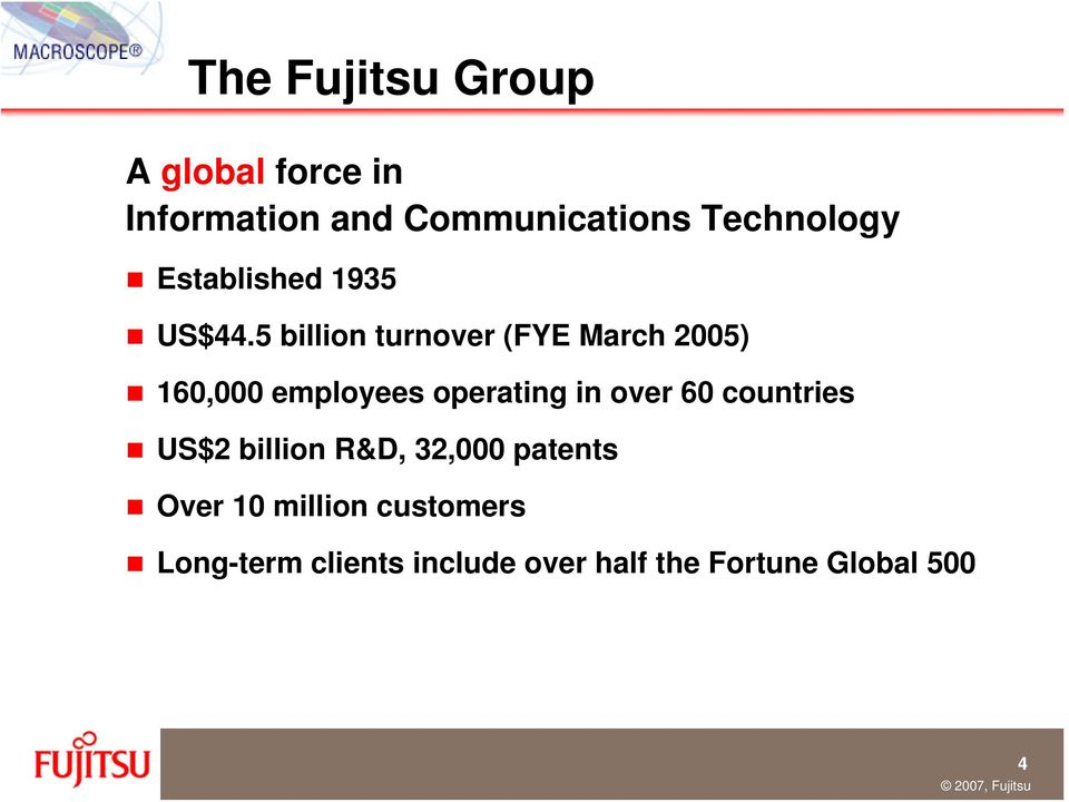 5 billion turnover (FYE March 2005) 160,000 employees operating in over 60