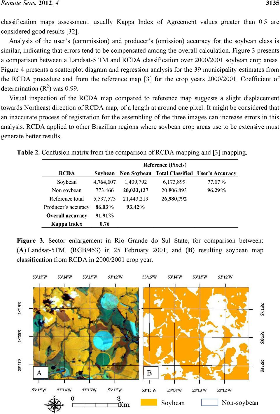 Figure 3 presents a comparison between a Landsat-5 TM and classification over 2/21 soybean crop areas.