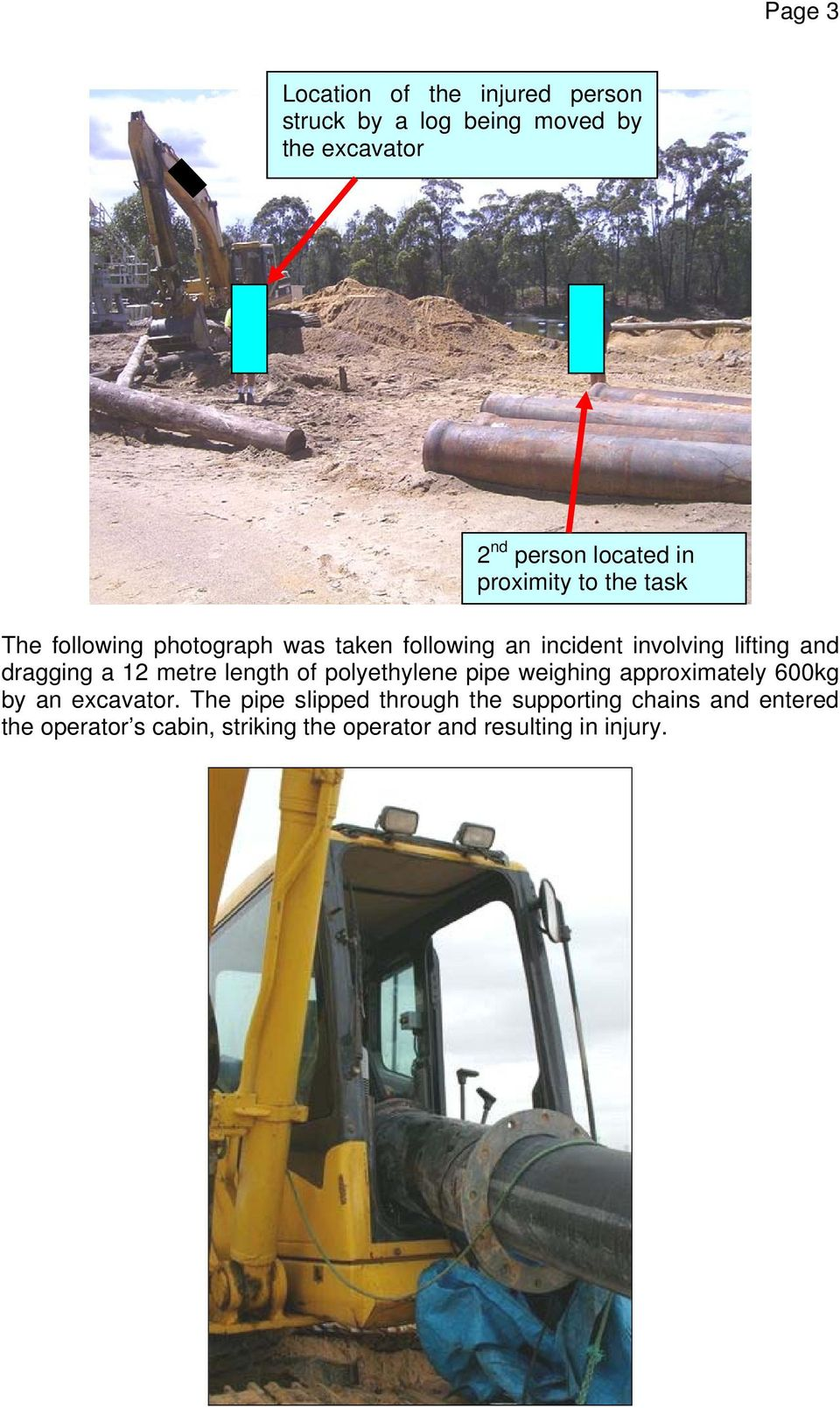 dragging a 12 metre length of polyethylene pipe weighing approximately 600kg by an excavator.