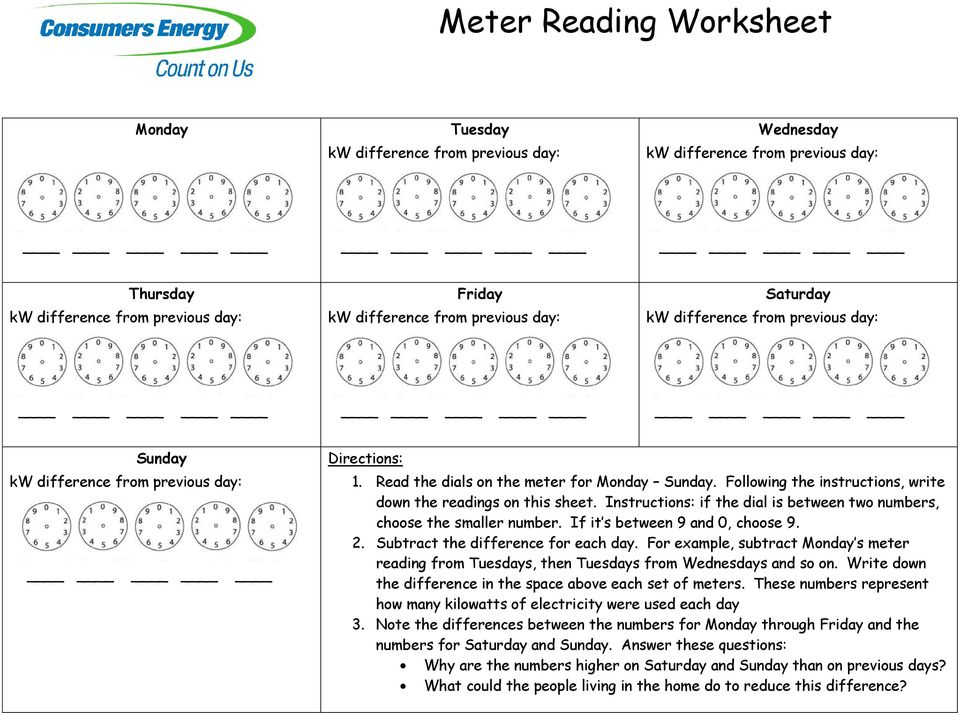 Using energy and meter reading pdf following the instructions write down the readings on this sheet instructions if the ibookread PDF