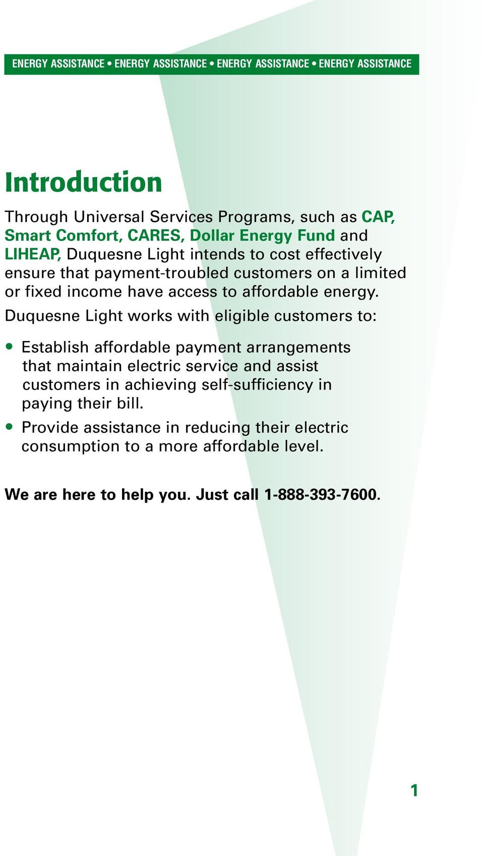 Duquesne Light Works With Eligible Customers To: Establish Affordable  Payment Arrangements That Maintain Electric Service