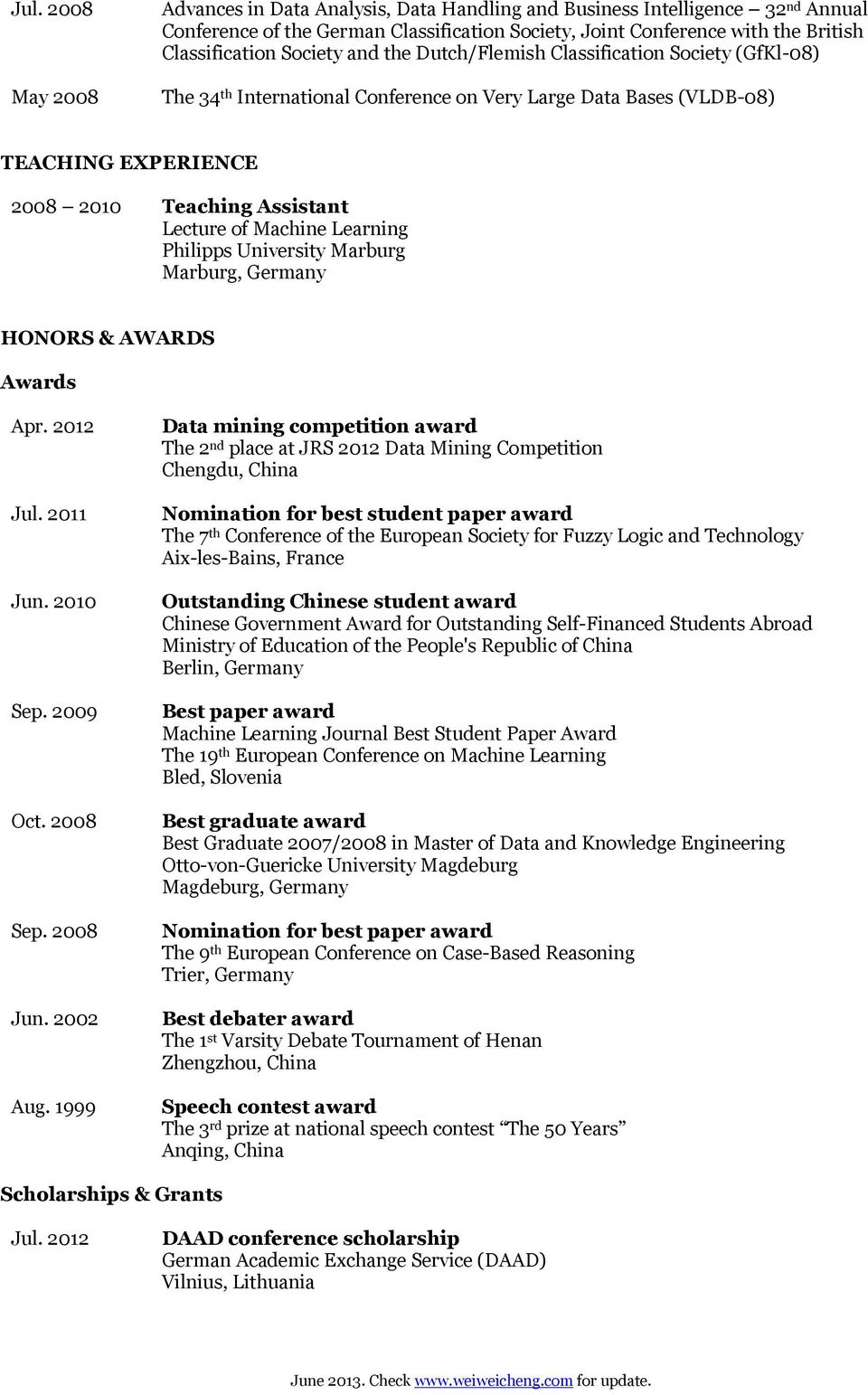Machine Learning Philipps University Marburg HONORS & AWARDS Awards Apr. 2012 Jul. 2011 Oct. 2008 Jun. 2002 Aug.