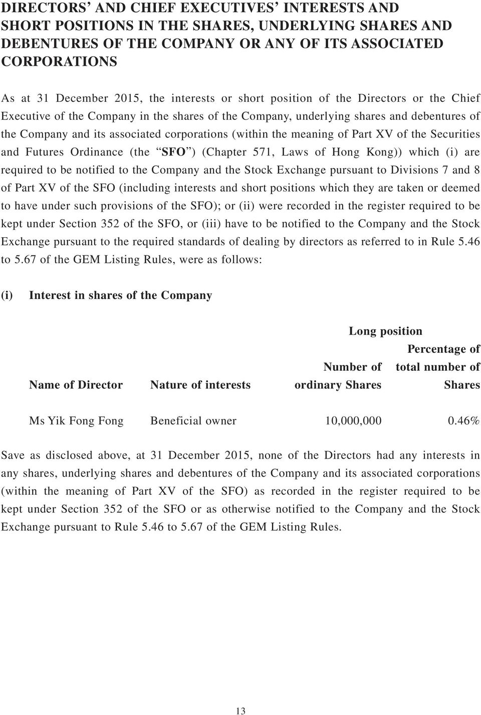 Part XV of the Securities and Futures Ordinance (the SFO ) (Chapter 571, Laws of Hong Kong)) which (i) are required to be notified to the Company and the Stock Exchange pursuant to Divisions 7 and 8