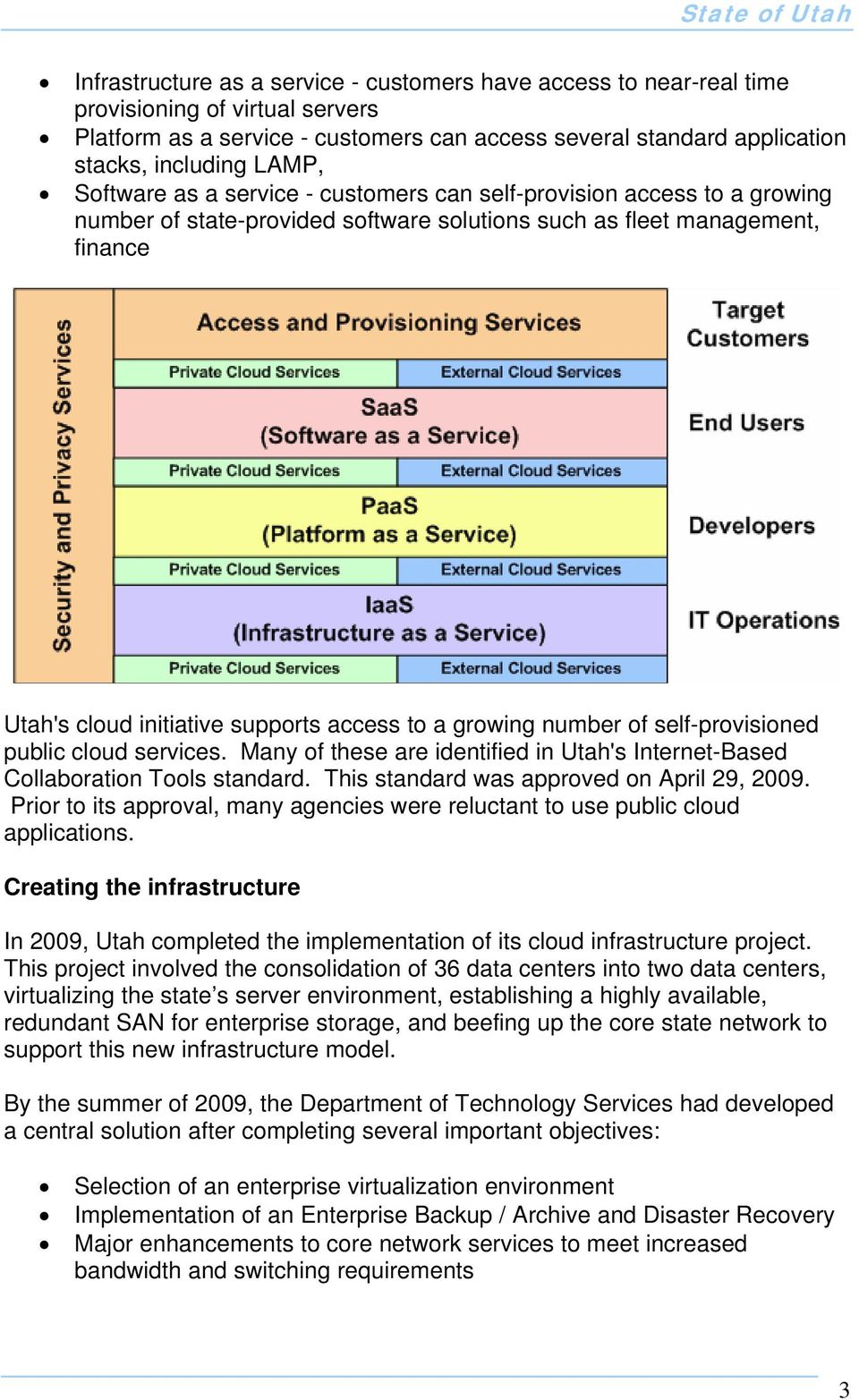 growing number of self-provisioned public cloud services. Many of these are identified in Utah's Internet-Based Collaboration Tools standard. This standard was approved on April 29, 2009.