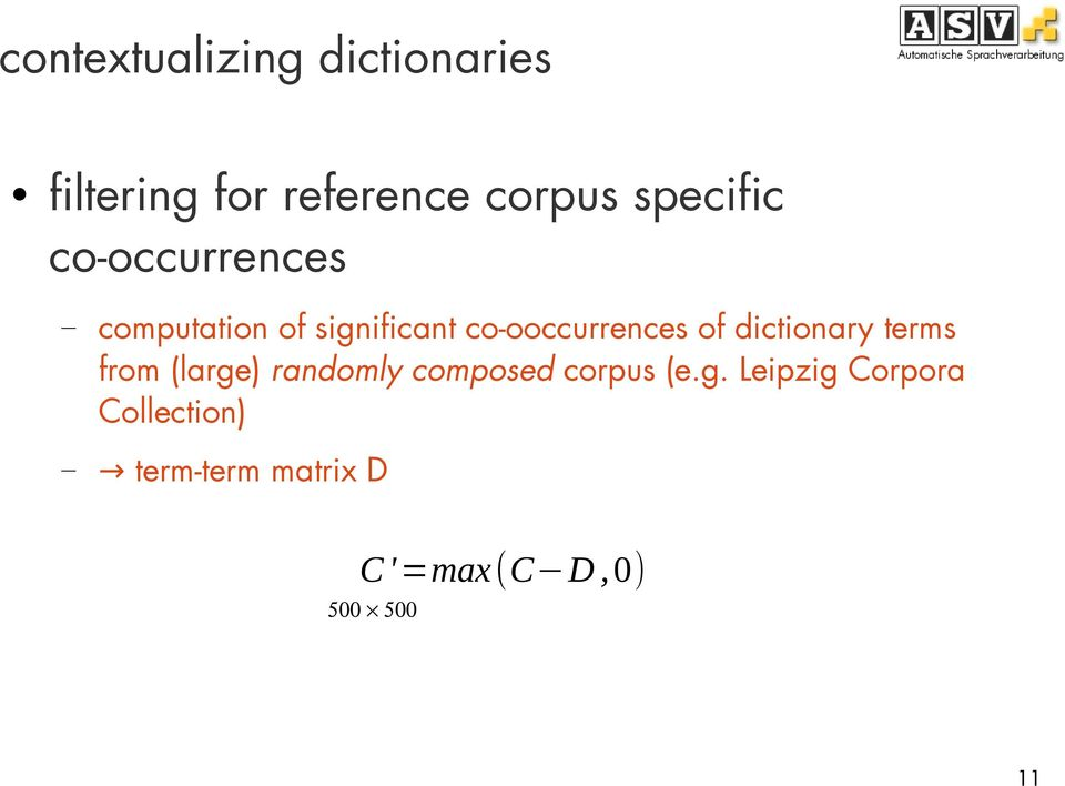 co-ooccurrences of dictionary terms from (large) randomly