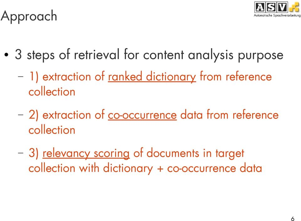 extraction of co-occurrence data from reference collection 3)