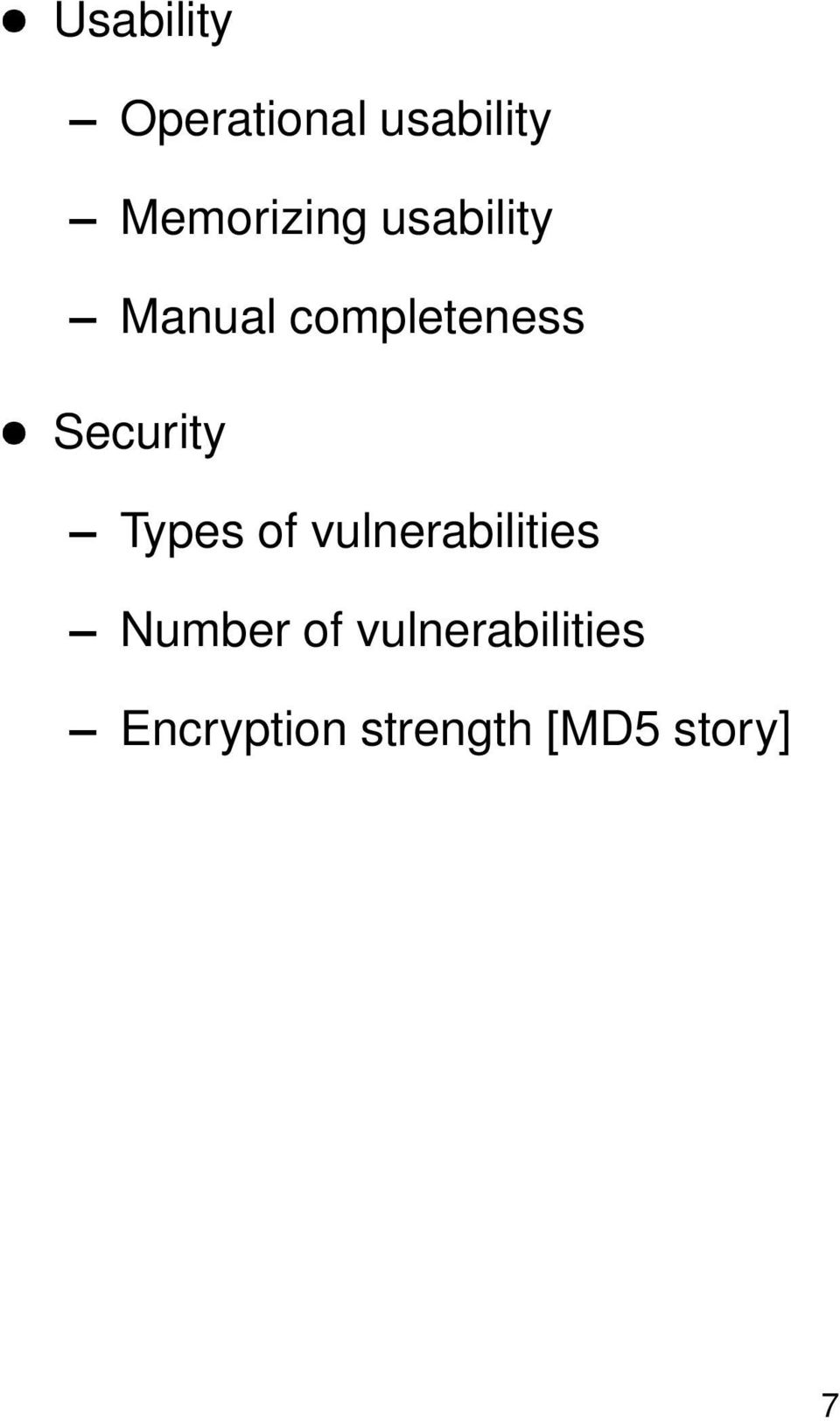Security Types of vulnerabilities Number