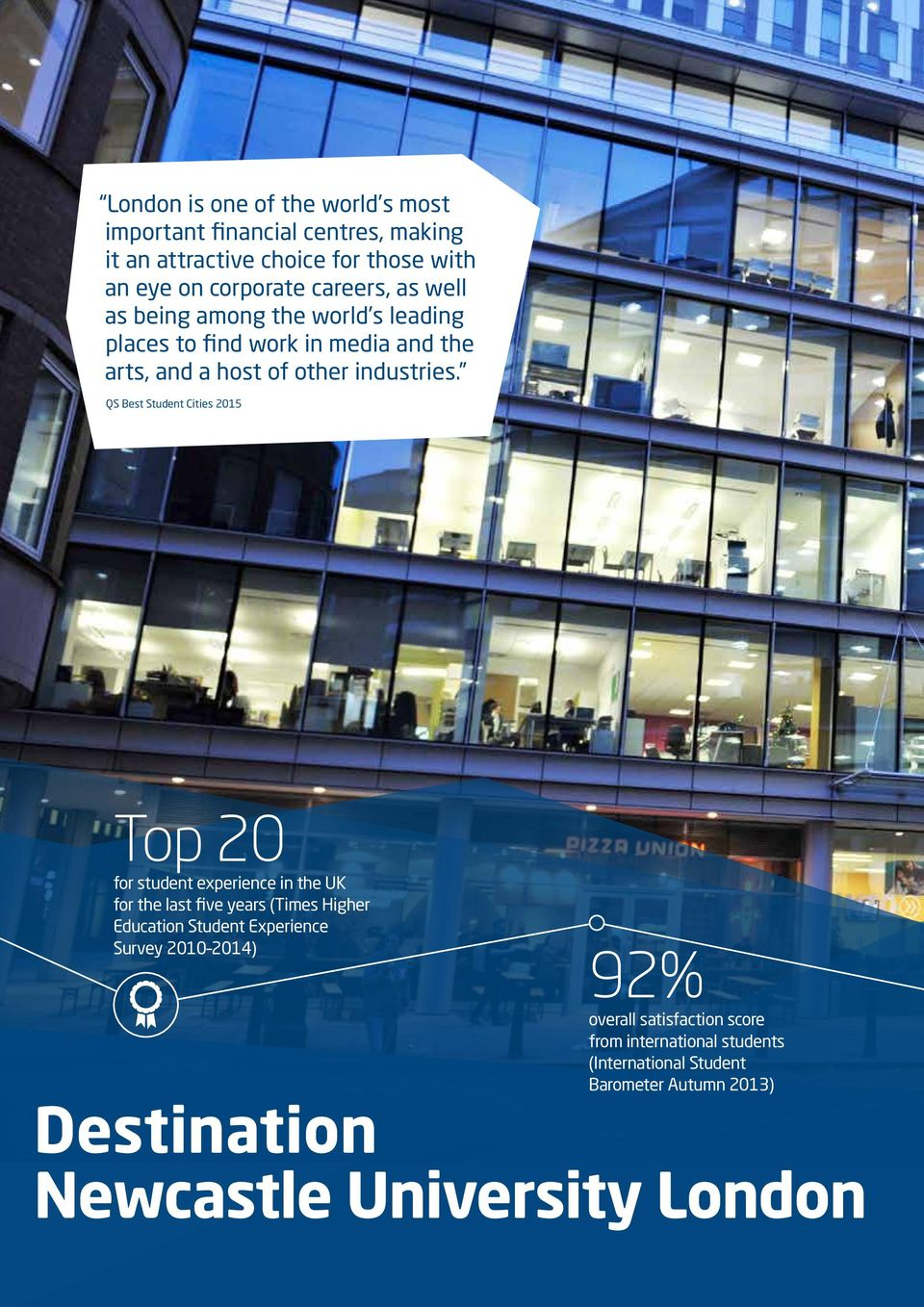 QS Best Student Cities 2015 Top 20 for student experience in the UK for the last five years (Times Higher Education Student Experience