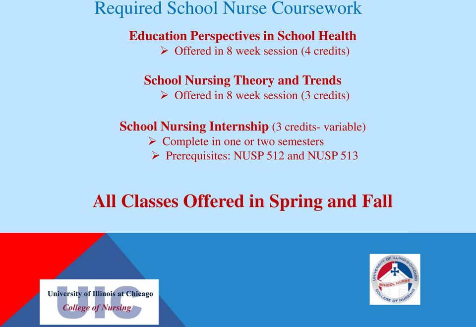 session (3 credits) School Nursing Internship (3 credits- variable) Complete in one