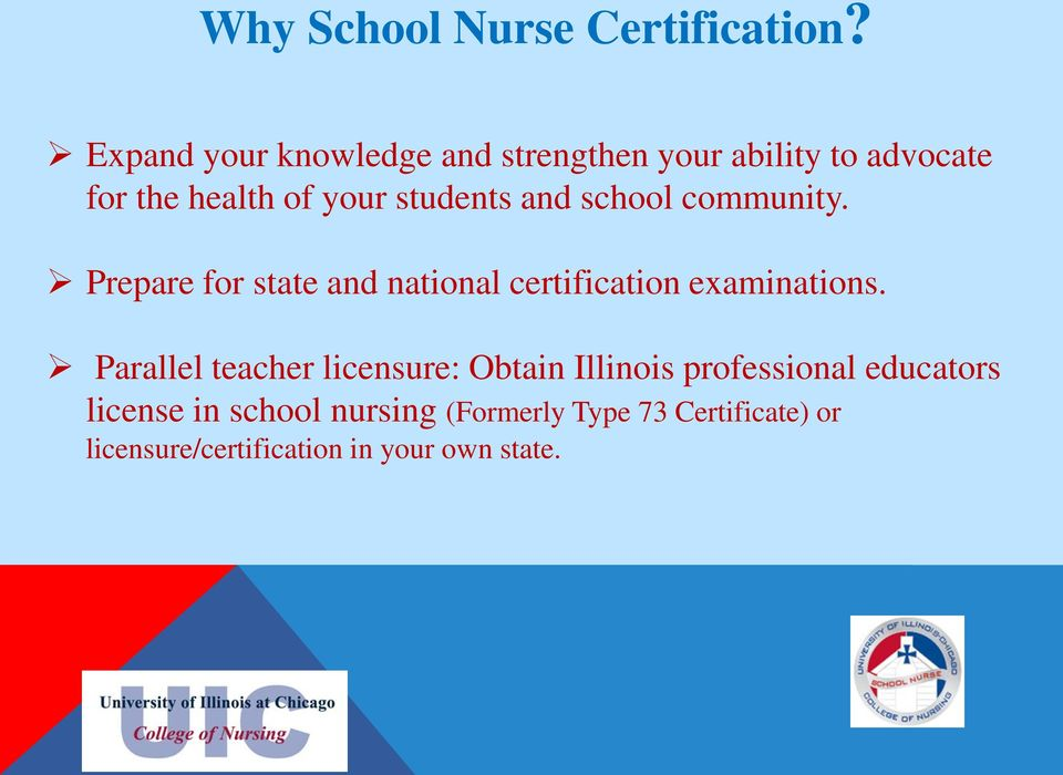 and school community. Prepare for state and national certification examinations.
