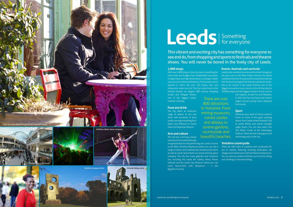 There are many places for you to catch up with friends Choose from 1,000 shops Yorkshire Sculpture Park Northern Ballet dance company Kirkstall Abbey ruins 1,000 shops With over 1,000 shops in the