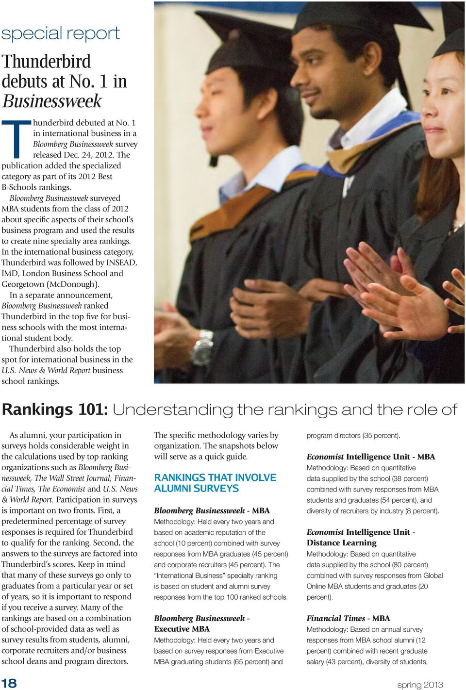 Bloomberg Businessweek surveyed MBA students from the class of 2012 about specific aspects of their school s business program and used the results to create nine specialty area rankings.