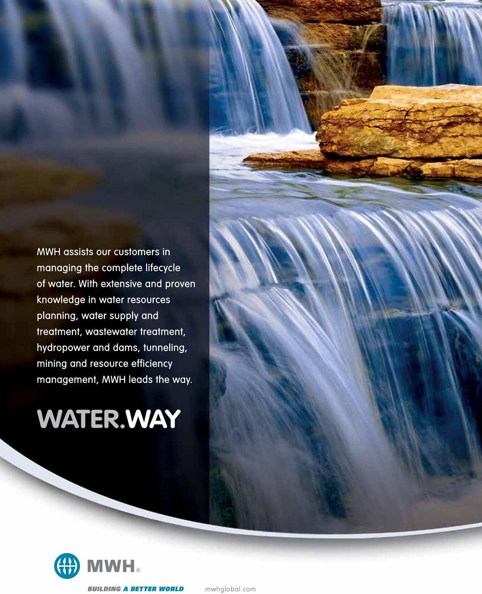 supply and treatment, wastewater treatment, hydropower and dams, tunneling,