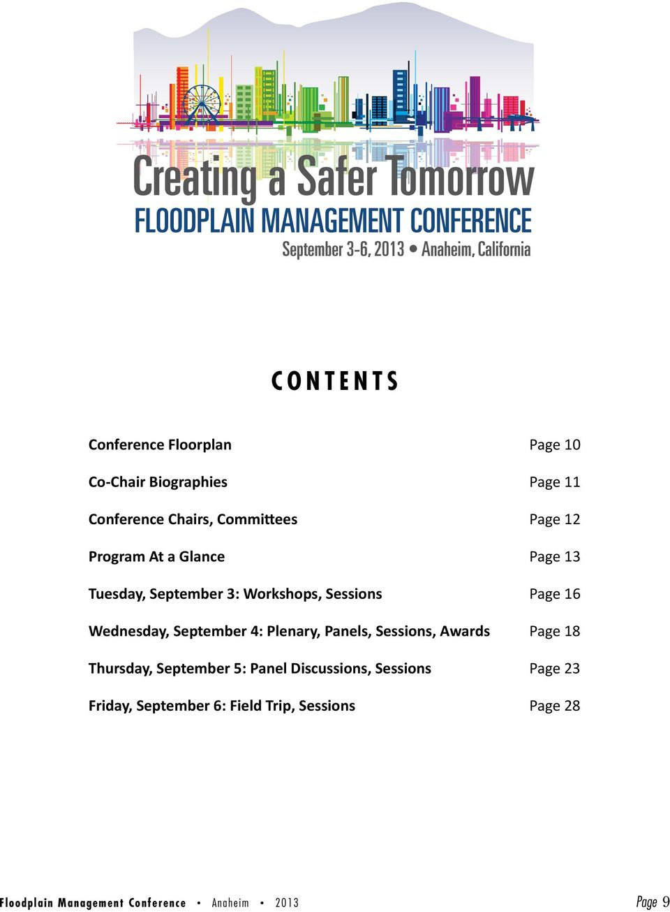 September 4: Plenary, Panels, Sessions, Awards Page 18 Thursday, September 5: Panel Discussions,