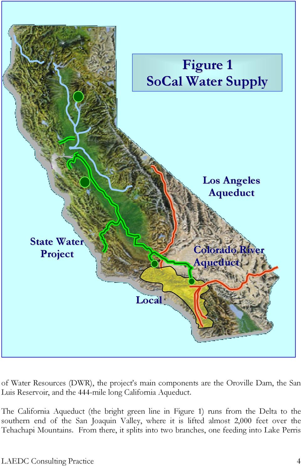 The California Aqueduct (the bright green line in Figure 1) runs from the Delta to the southern end of the San Joaquin Valley, where it