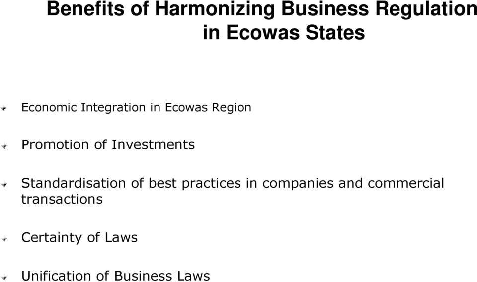 Investments Standardisation of best practices in companies