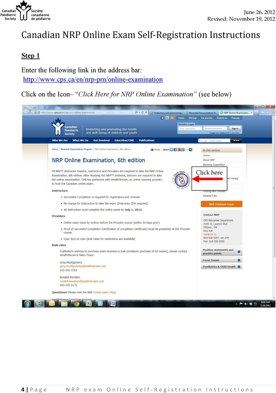 Canadian Nrp Online Exam Self Registration Instructions Pdf