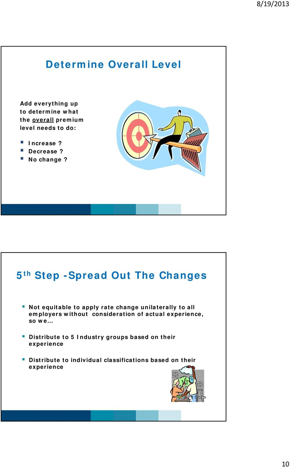 5 th Step -Spread Out The Changes Not equitable to apply rate change unilaterally to all employers