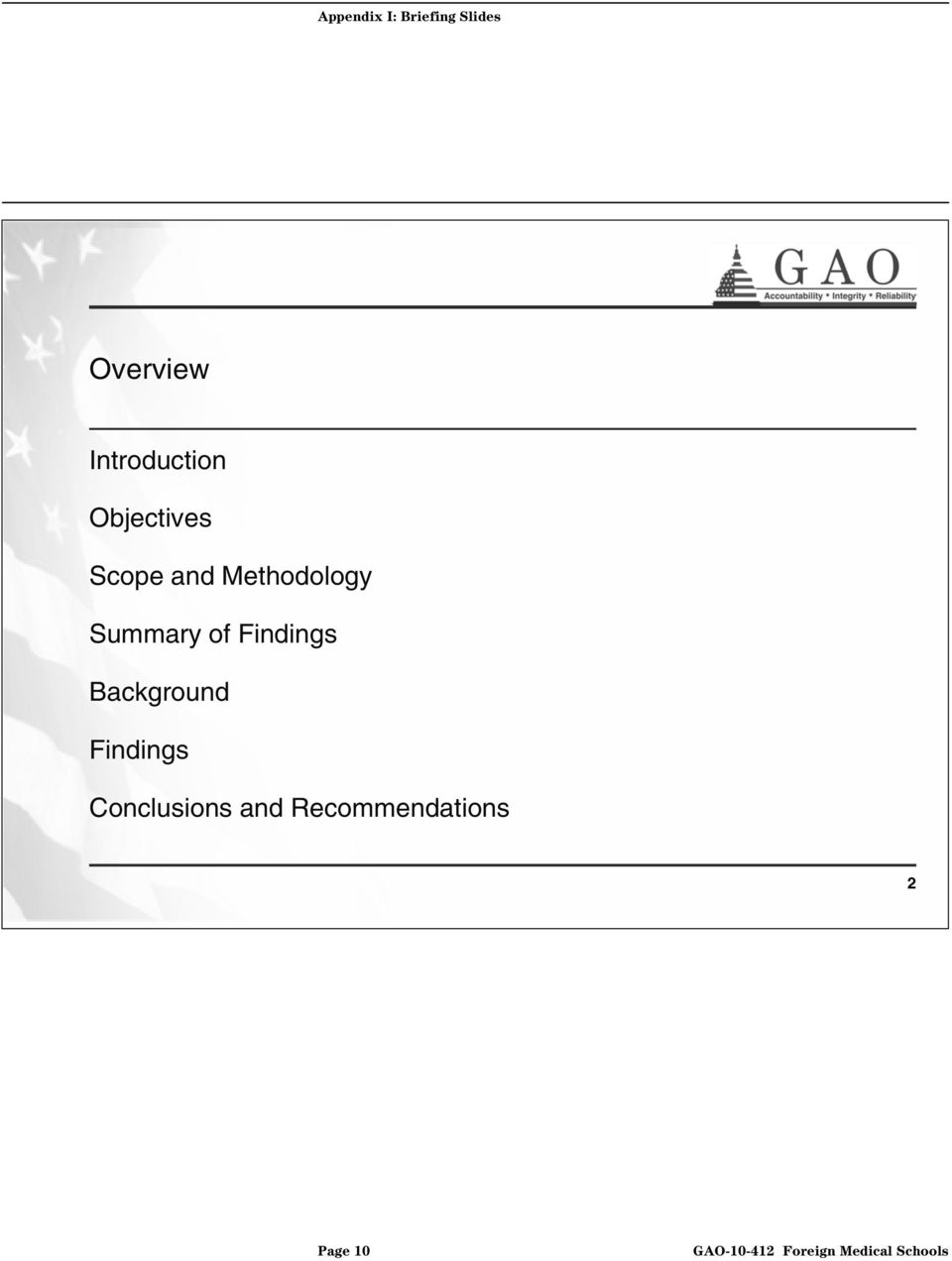 Methodology Summary of Findings