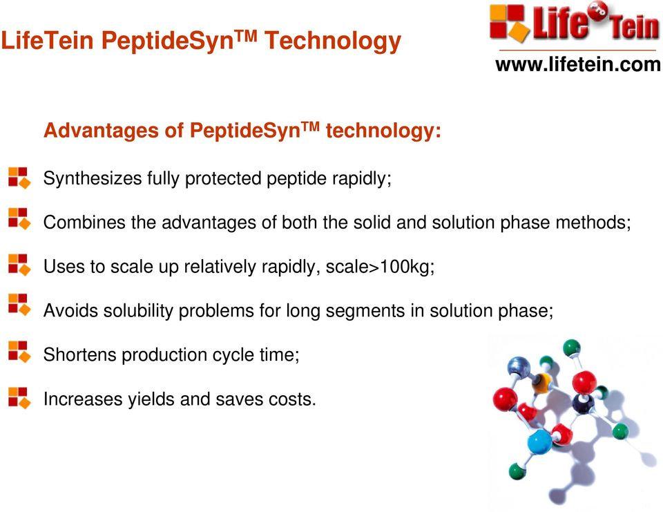 methods; Uses to scale up relatively rapidly, scale>100kg; Avoids solubility problems for