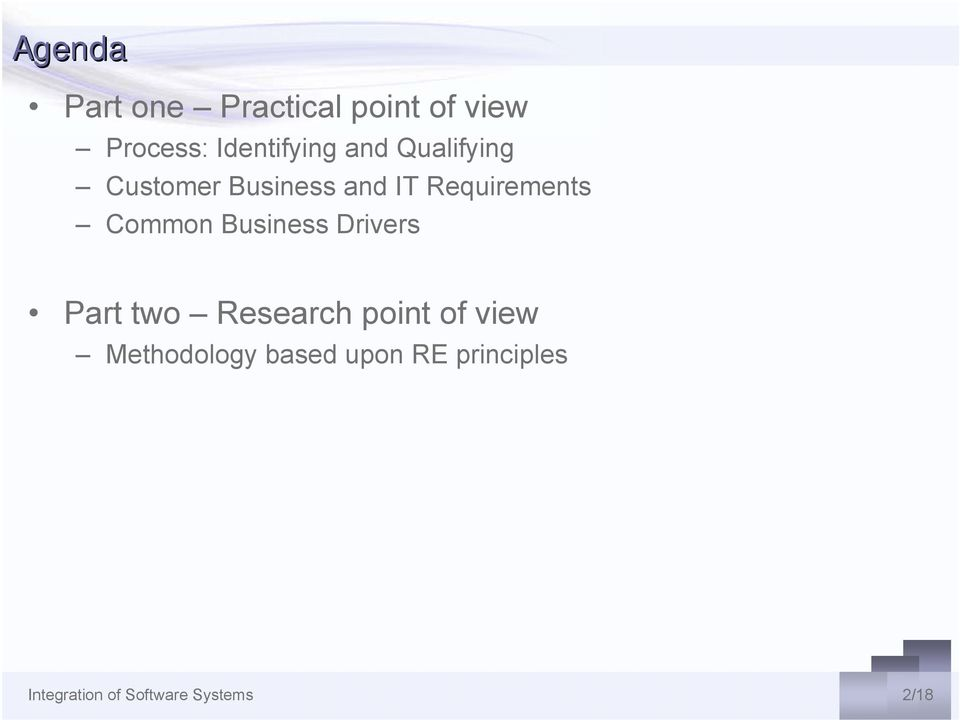 Business Drivers Part two Research point of view Methodology