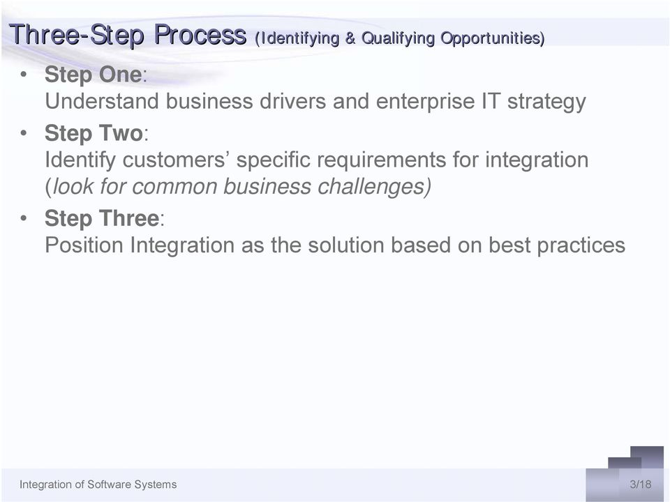 requirements for integration (look for common business challenges) Step Three: