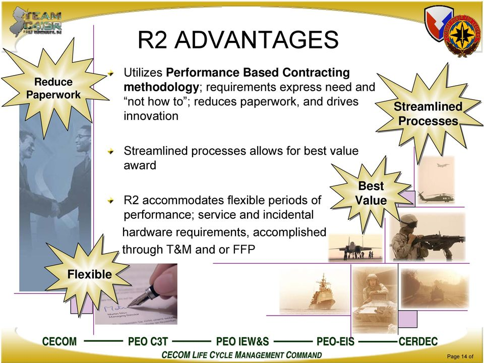 processes allows for best value award R2 accommodates flexible periods of performance; service and