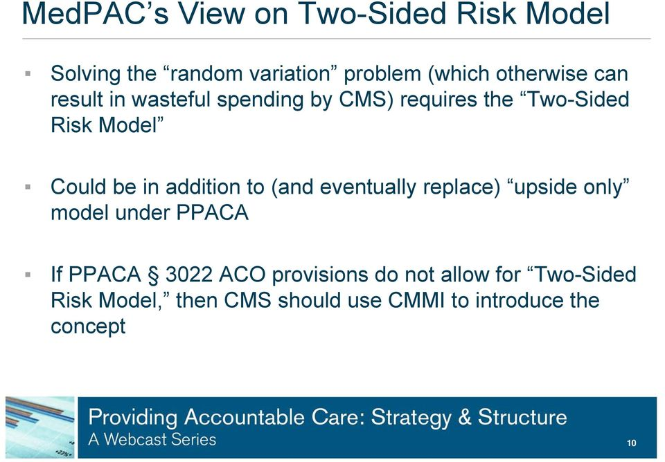 addition to (and eventually replace) upside only model under PPACA If PPACA 3022 ACO