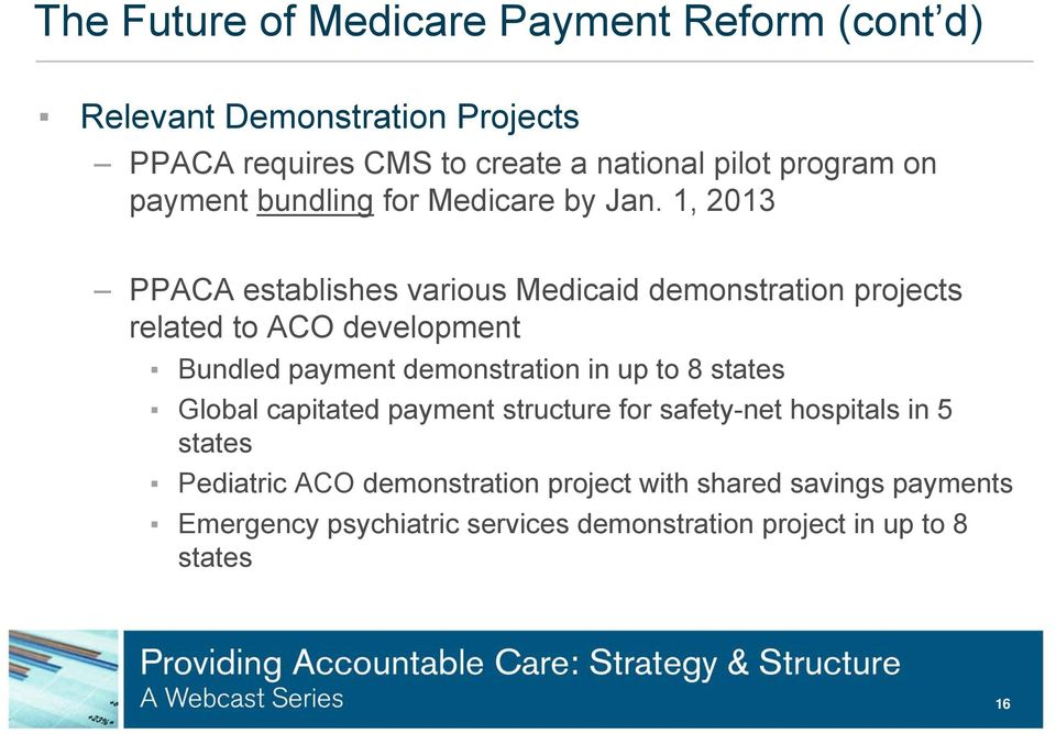 1, 2013 PPACA establishes various Medicaid demonstration projects related to ACO development Bundled payment demonstration in up to