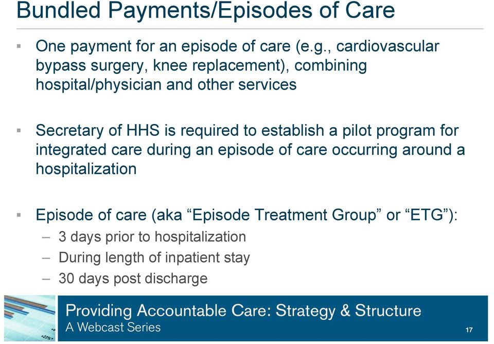 HHS is required to establish a pilot program for integrated care during an episode of care occurring around a
