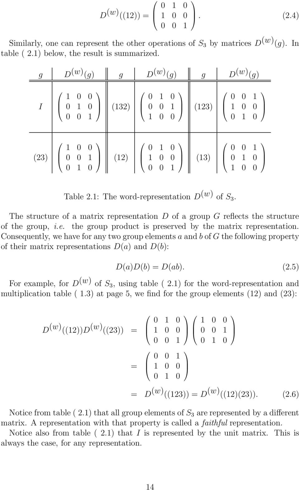 Consequently, wehaveforanytwogroupelementsaandbofgthefollowingproperty of their matrix representations D(a) and D(b): D(a)D(b) = D(ab). (.5) For example, for D (w) of S, using table (.