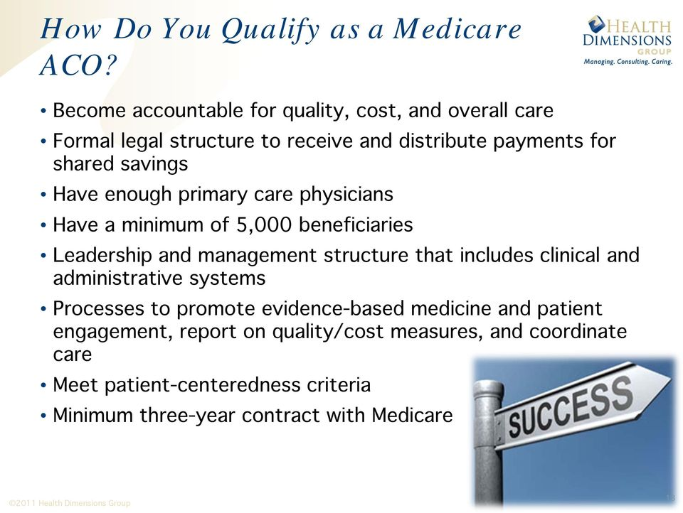 Have enough primary care physicians Have a minimum of 5,000 beneficiaries Leadership and management structure that includes clinical