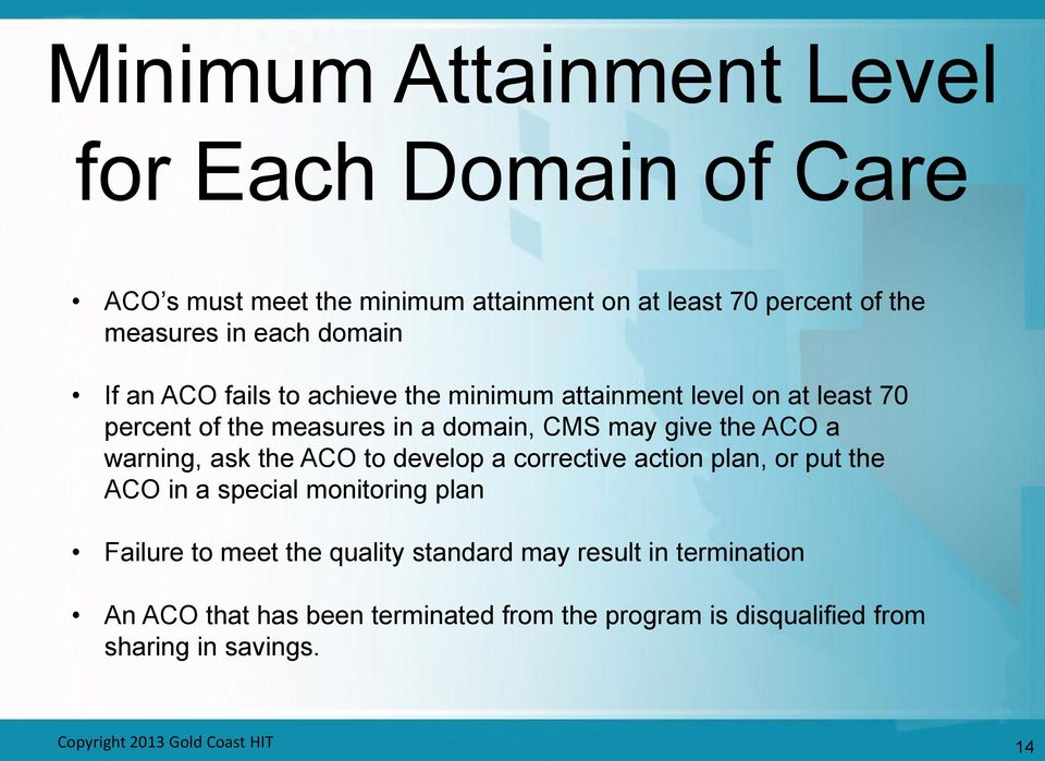 warning, ask the ACO to develop a corrective action plan, or put the ACO in a special monitoring plan Failure to meet the quality standard