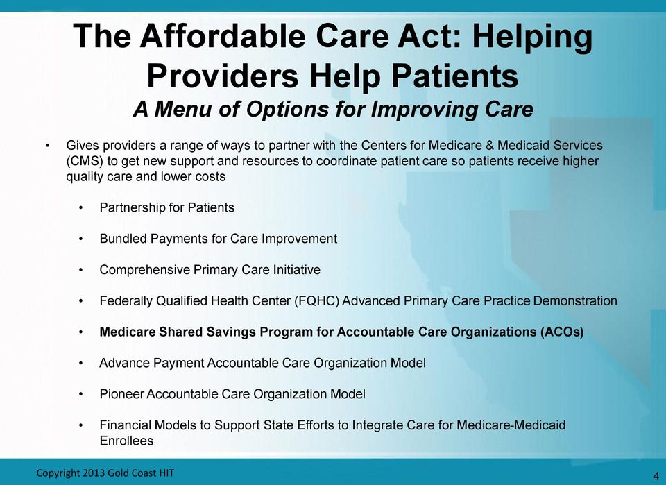 Care Initiative Federally Qualified Health Center (FQHC) Advanced Primary Care Practice Demonstration Medicare Shared Savings Program for Accountable Care Organizations (ACOs) Advance Payment